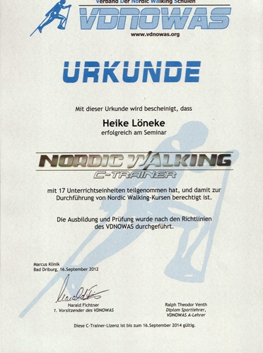 Nordic Walking Zertifikat
